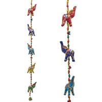 Decoratieve slinger stoffen Olifantjes (80 cm)