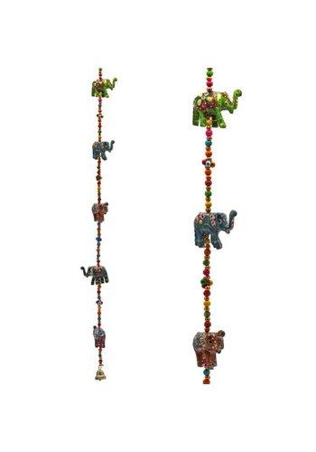 Yogi & yogini Decoratieve slinger houten Olifantjes (80 cm)