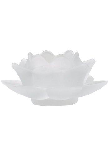 Yogi & Yogini naturals Sfeerlicht Lotus glas wit (5.5x12 cm)