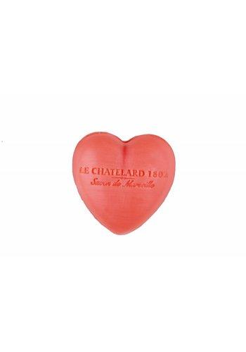 Le Chatelard 1802 Hartvormig Marseille gastenzeepje Roze Jasmijn  (25 gram)