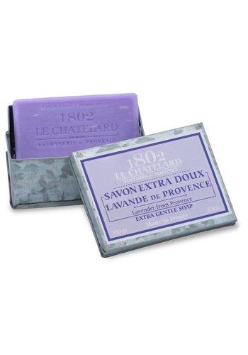 Le Chatelard 1802 Natuurlijke Marseille zeep in metalen doosje Lavender of Provence  (100 gram)