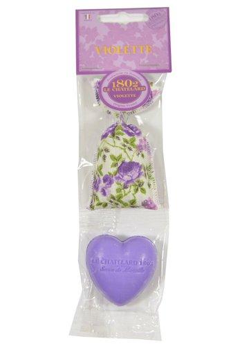 Le Chatelard 1802 Geschenkset geurzakje viooltjes/hartvormig zeepje viool/braam