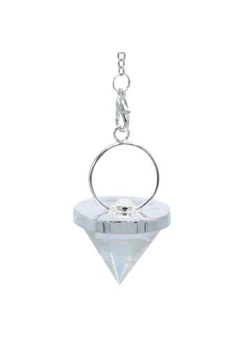 Yogi & Yogini naturals Pendel bergkristal kegelvorm met maansteen (± 3.2 cm)