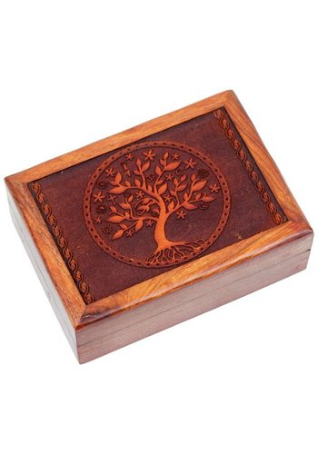 Yogi & Yogini naturals Tarotdoos tree of life gegraveerd (17,5x13x6,5 cm)