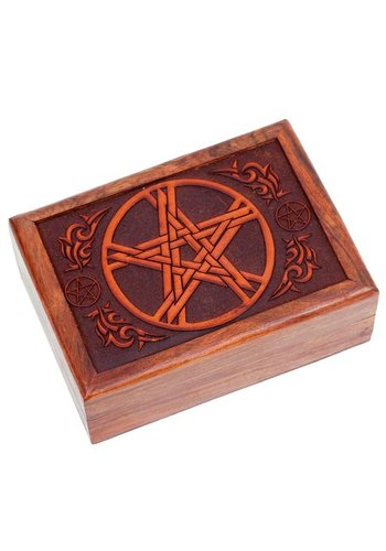 Yogi & Yogini naturals Tarotdoos pentagram gegraveerd (17,5x13x6,5 cm)