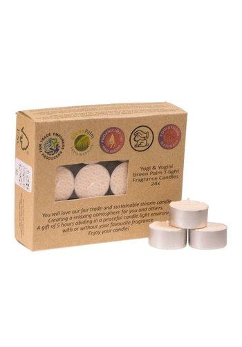 Greenpalm Fair Trade Theelichtjes stearine jasmijngeur (24-pack)