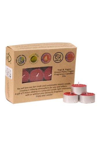 Greenpalm Fair Trade Theelichtjes stearine rozengeur (24-pack)