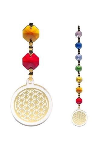 Yogi & Yogini naturals Feng Shui - Bloem des Levens hanger goudkleurig (20 cm)