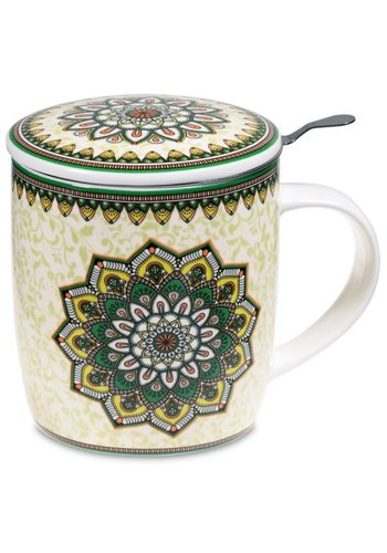 Tea for One Theemok met filter Mandala groen (400 ml)