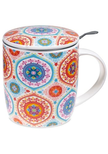 Tea for One Theemok met filter Mandala blauw (400 ml)