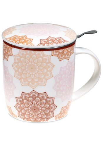 Tea for One Theemok met filter Mandala roze (400 ml)