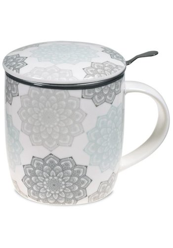 Tea for One Theemok met filter Mandala grijs (400 ml)