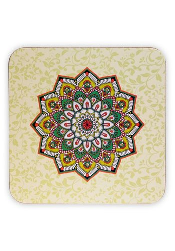 Tea for One Mandala onderzetters groen (6 stuks)