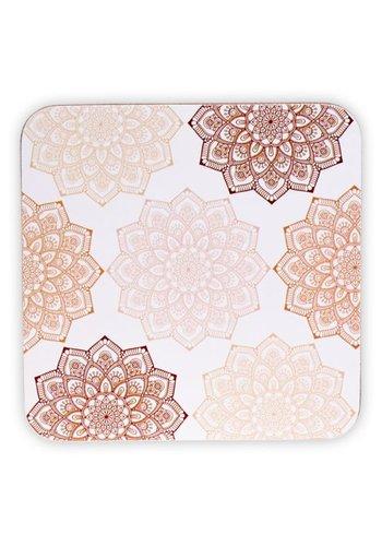 Tea for One Mandala onderzetters roze (6 stuks)