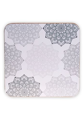Tea for One Mandala onderzetters grijs (6 stuks)