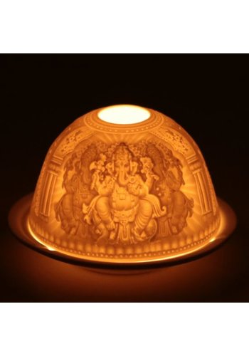 Yogi & Yogini naturals Sfeerlicht porselein Ganesha (11.5x7.8 cm)