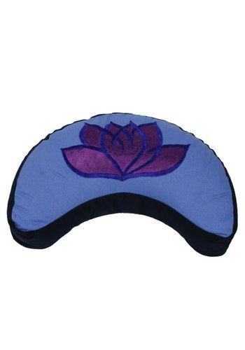 Yogi & Yogini naturals Meditatiekussen violet/blauw lotus halve maan (33x13cm)