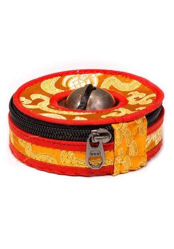 Yogi & Yogini naturals Hoesje voor Tingsha's oranje/rood Large (9 cm)
