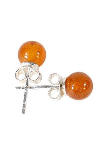 Yogi & Yogini naturals Carneool oorstekers 925 zilver (± 6 mm)