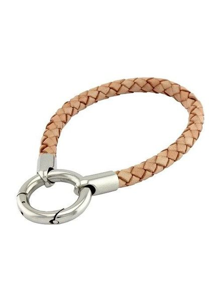 Mi Moneda Armband Braided Leather Creme