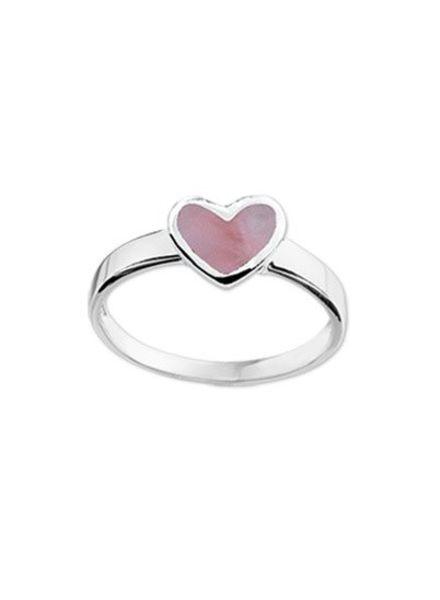 Tomylo Zilveren kinderring hartje roze