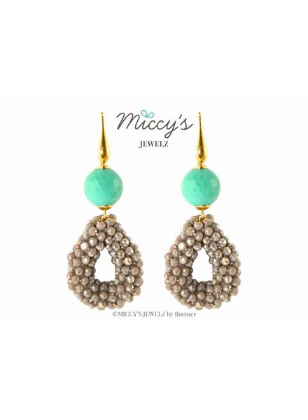 Miccy's Oorhanger Crystal, Grey small open drops with turquoise beads