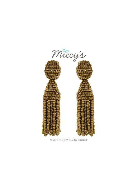 Miccy's Oorhanger Crystal, gold short tassel