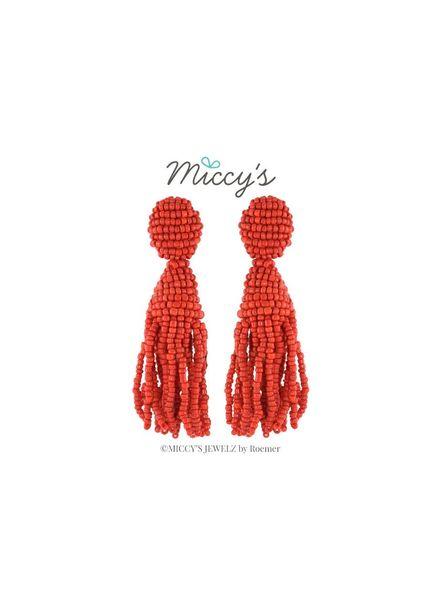 Miccy's Oorhanger Crystal, red short tassel