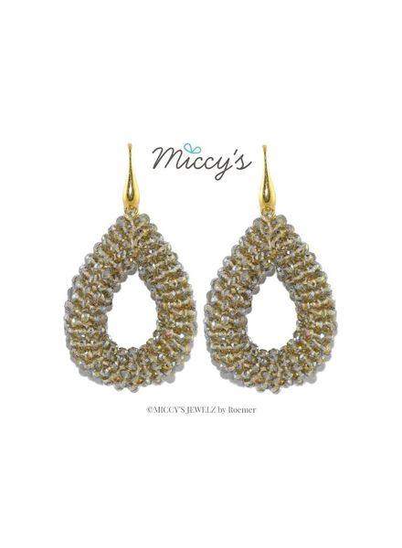 Miccy's Oorhanger Crystal, grey open drops