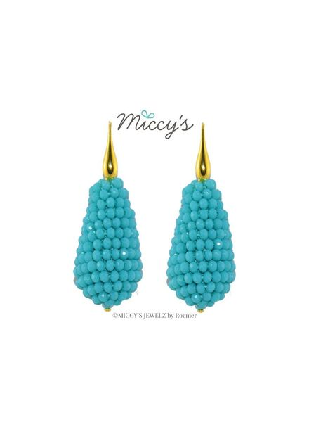 Miccy's Oorhanger crystal, turquoise drops