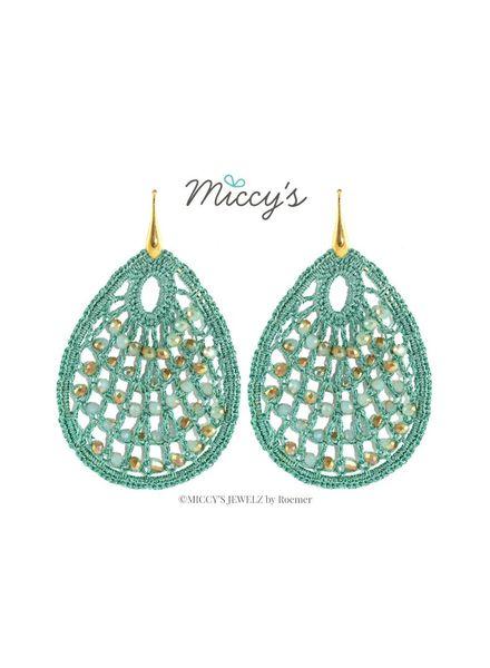 Miccy's Oorhanger Crystal, mint green crochet drops