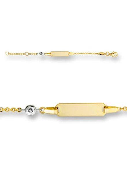 Tomylo 14 karaat gouden plaat armband met zirconia. 221240