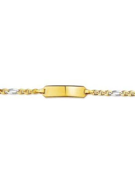Tomylo 14 karaat geel/wit gouden plaatarmbend, 9.00-11.00 cm.