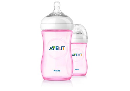Avent Avent Natural Feeding Bottle 260 ml Duo Pink