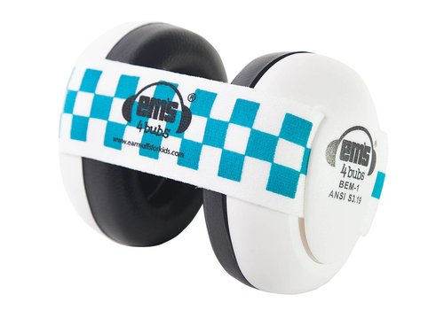 Em's 4 Em's 4 Hearing Protection Earmuffs White - Blue Checkered