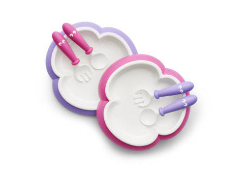 BabyBjörn Babybjorn Plate - Spoon And Fork Duo Pink - Lila