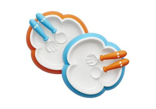 BabyBjörn Babybjorn Baby Plate Spoon And Fork 2x Orange - Turquoise