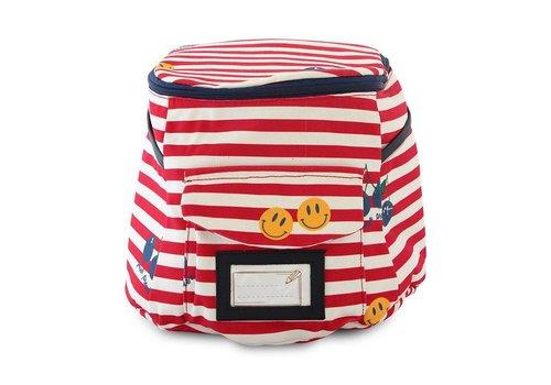 Jeune Premier Jeune Premier Backpack Rode - White Stripes Smiley
