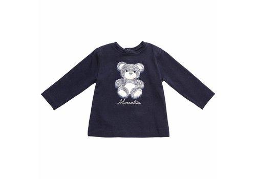 Monnalisa Monnalisa T-Shirt Teddy Parels Navy Blauw