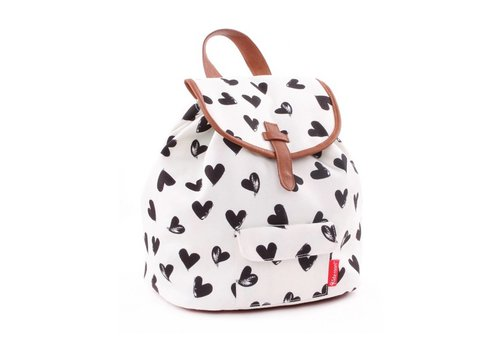 Kidzroom Kidzroom Backpack With Hearts Black-White 28x27x16