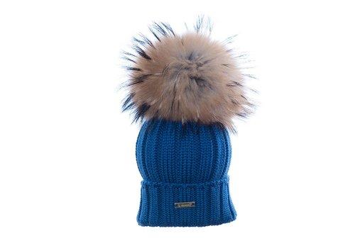 Il Trenino Il Trenino Hat Blue Melange With Big Pom Pom
