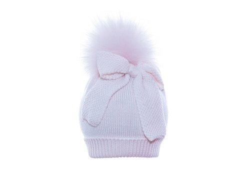 Il Trenino Il Trenino Hat With Pom Pom And Bow Pink