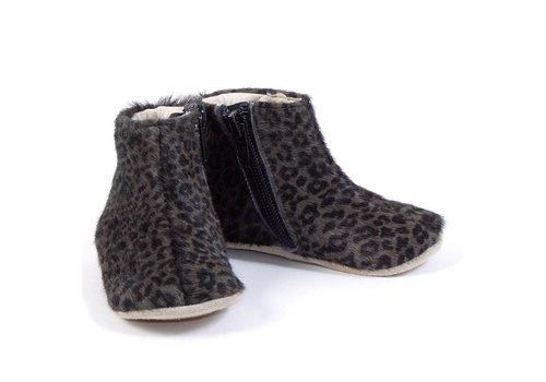 Petit Nord Schoen Met Rits Grey Leopard