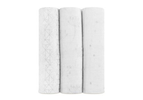 Aden & Anais Aden & Anais Tetradoeken Metallic Silver Deco 4-Pack