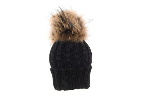 Catya Catya Hat With Pom Pom Black