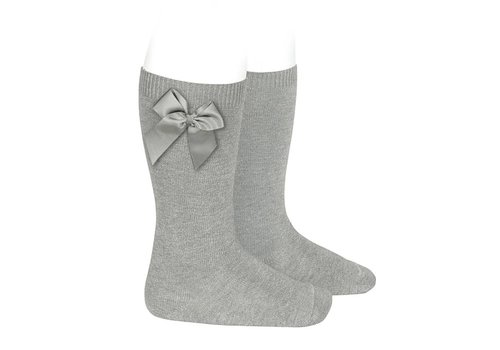 Condor Condor Knee Socks With Bow Light Grey
