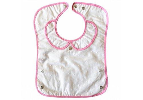 Les Pascalettes Les Pascalettes Plasticized Bib With Spots White-Pink