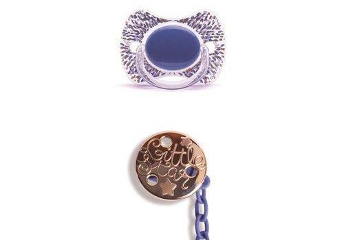 Suavinex Suavinex Fopspeenketting + Fopspeen Haute Couture Silicone Effen Blauw