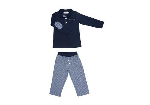 Cotolini Cotolini Pyjama Marcel Flanelle Geruit Navy