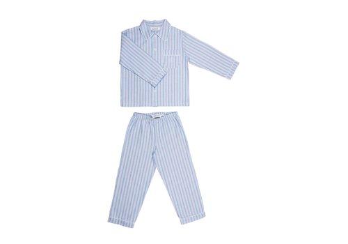Cotolini Cotolini Pyjama Mathieu Flanelle Gestreept Lichtblauw - Rood